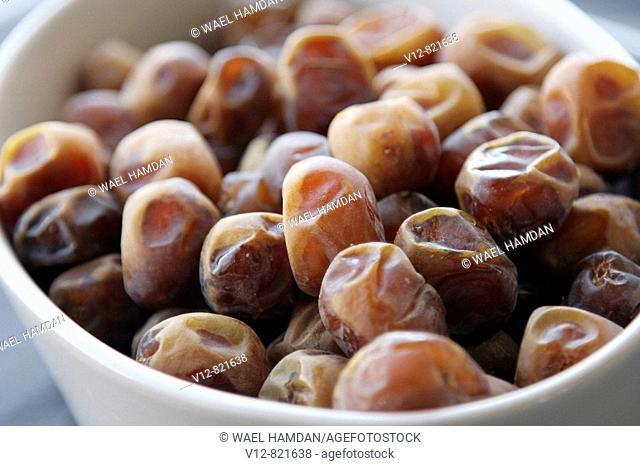 close-up Fresh Egyptain dates on bowl
