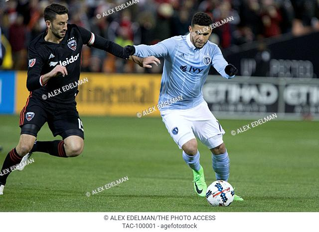 D.C. United defender Steve Birnbaum (15) and Sporting Kansas City forward Dom Dwyer (14) at RFK Stadium in Washington, D.C. on Saturday March 4, 2017
