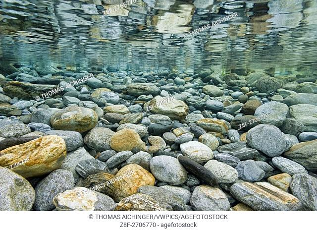 stream landscape of Verzasca, Ticino, Switzerland