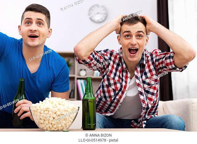 Friends watching sports on TV. Debica, Poland