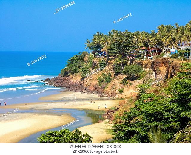 view at bay and beach in varkala, kerala, india