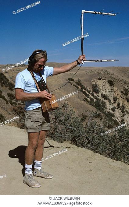 Biologist Radio-Tracking California Condors, Kern County, California