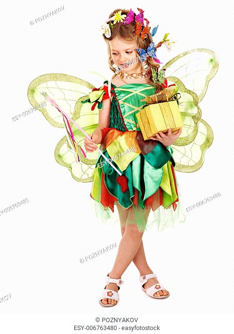 Little girl with wings holding flower and butterfly. Isolated