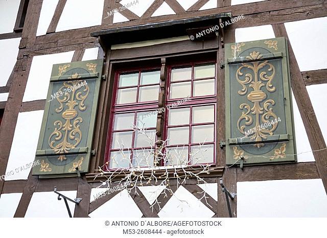 Exterior of a traditional swiss building with Christmas decoration. Gottlieben Municipality. Kreuzlingen District. Thurgau Canton. Switzerland