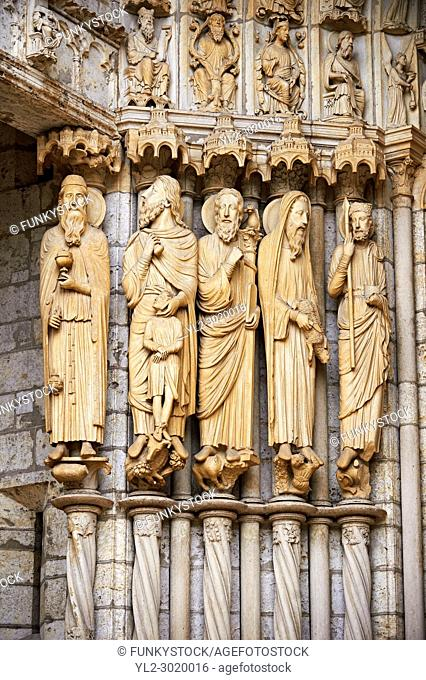 North Porch, Central Portal, left Jambs- General View c. 1194-1230. Cathedral of Chartres, France . Gothic statues of figures, from the left