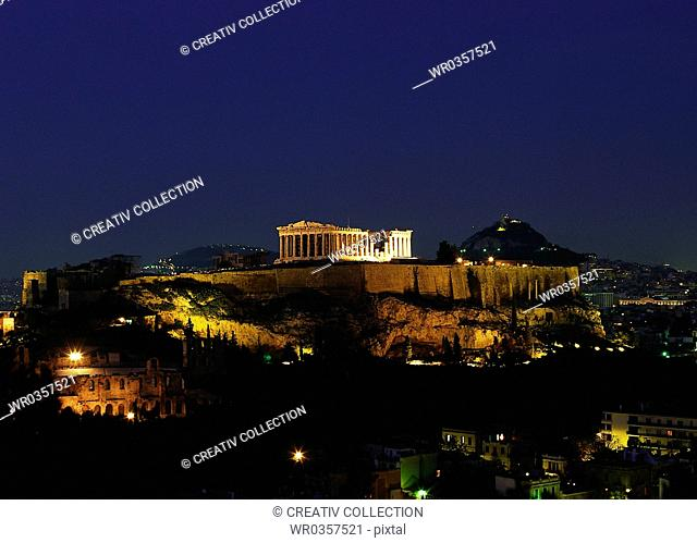 Acropolis in Athens, Greece illuminated by night