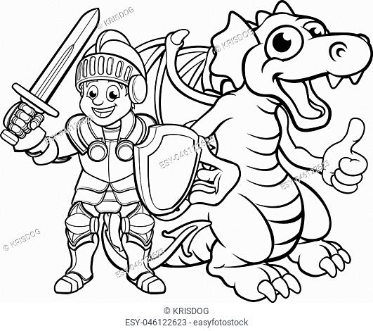 A cartoon dragon and knight boy in his suit of armour holding a sword and shield
