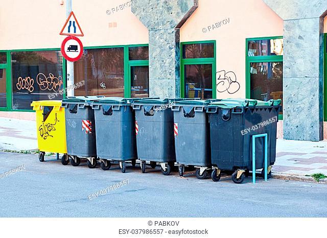 Plastic bins in a street