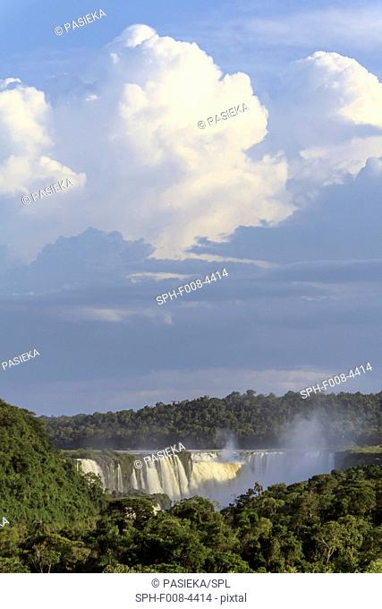 Iguazu falls, Argentina. Iguazu Falls, named after the Guarani word for 'great water', are four times the width of Niagara Falls and are divided by islands into...