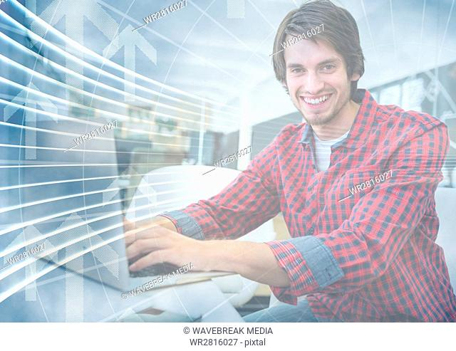 Man with laptop behind arrow graphic overlay