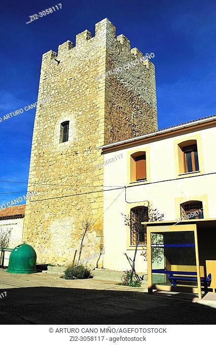 The tower (14th century). La Yunta town, Guadalajara province, Spain
