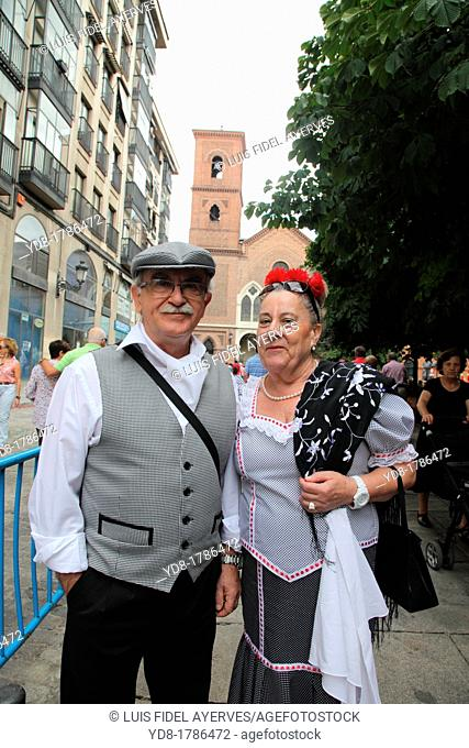 Couple wearing traditional costumes, Madrid, Spain, Europe