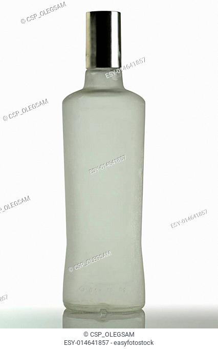 A bottle of vodka on a white background