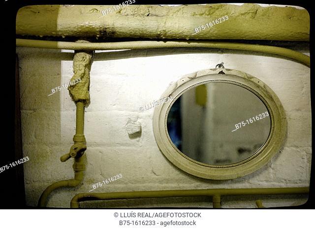 Wall mirror in a bathroom vintage