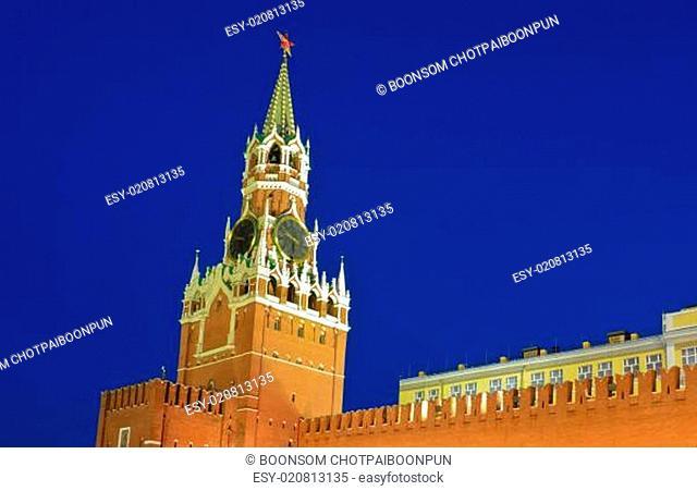Spasskaya tower or Savior's tower of Moscow Kremlin in summer night, Russia