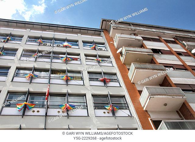 Rome, Italy 23rd July 2014 Peace flags on the CGIL trade union building in Rome Italy