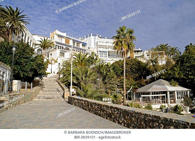 Stairs leading down to Playa Calahonda beach, Nerja, Málaga Province, Costa del Sol, Andalusia, Spain