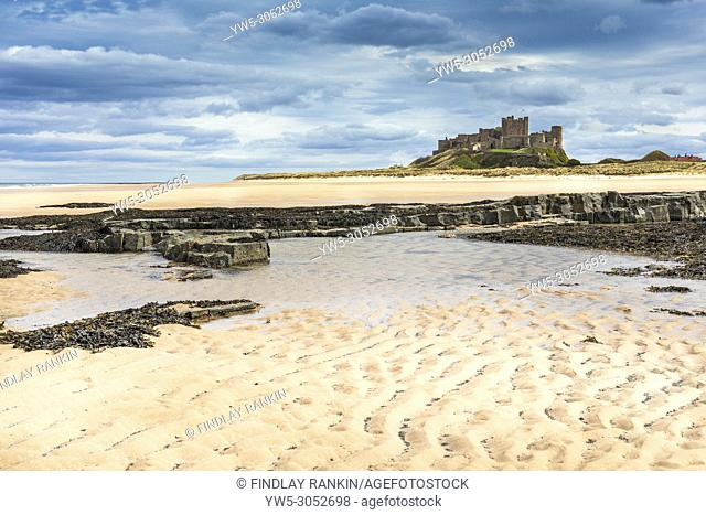 Bamburgh Castle and sands, Northumberland, England, UK