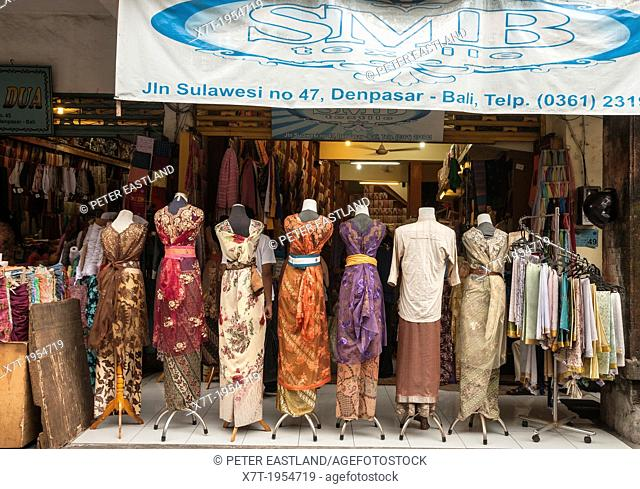 Shop dealing in traditional textiles in Sulawesi Street, Denpasar, Southern Bali, Indonesia