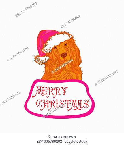 american cocker spaniel laying down wearing santa hat - card