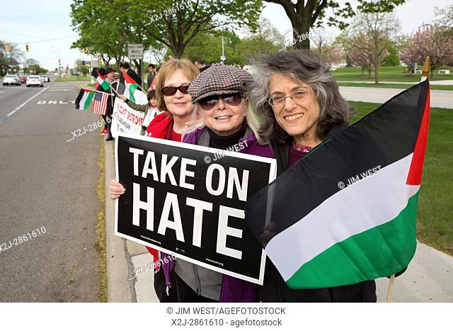 Dearborn, Michigan USA - 3 May 2017 - Members of Jewish Voice for Peace join with American Muslims for Palestine in a vigil to support 1500 Palestinian...