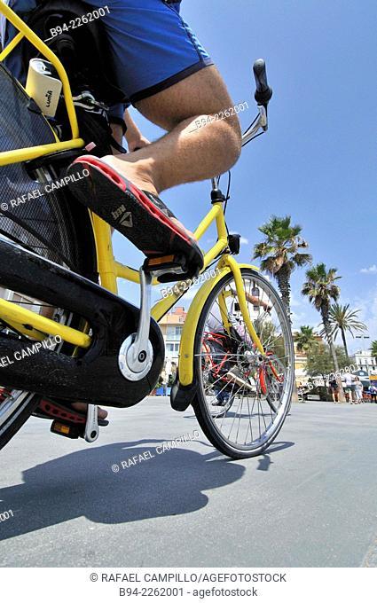 Urban cyclist, Barcelona, Catalonia, Spain