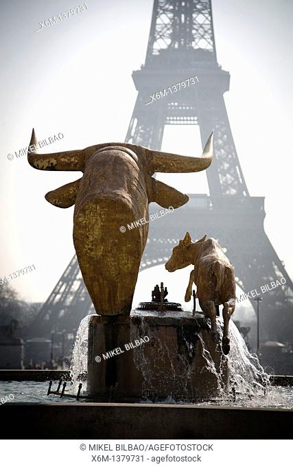 Bull and calf statue at the Trocadero gardens and Eiffel Tower  Paris, France