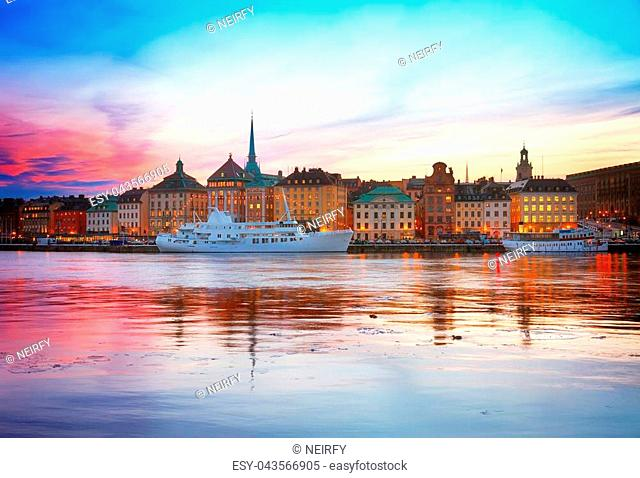 colorful sunset scenery of the Old Town in Stockholm, Sweden, toned