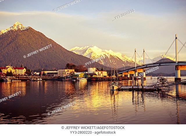 View of harbor, Mount Verstovia, O'Connell Bridge and downtown Sitka, Alaska, USA