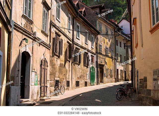 Streets in old town Ljubljana, Slovenia