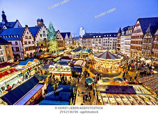 Christmas market on the Romans square in front of City Hall in Frankfurt, Germany