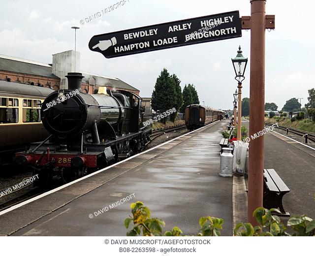 vintage steam locomotive 2857 at Severn Valley railway,Kidderninster,UK