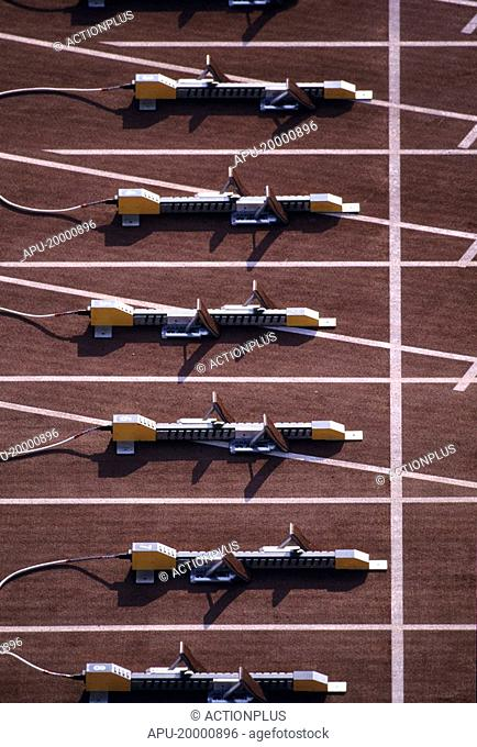Close up of a starting blocks on an running track