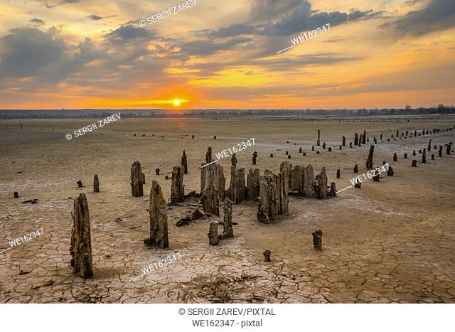 Sunset on the salty estuary Kuyalnik, dead lake near Odessa, Ukraine
