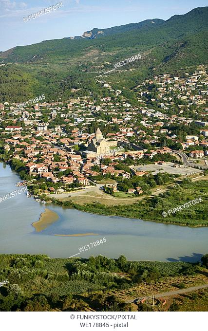 The confluence of the Aragvi and Mtkvari Rivers, in Central-Eastern Georgia, some 20km northwest of Tbilisi and the town of Mtkvari with the Svetitstkhoveli...