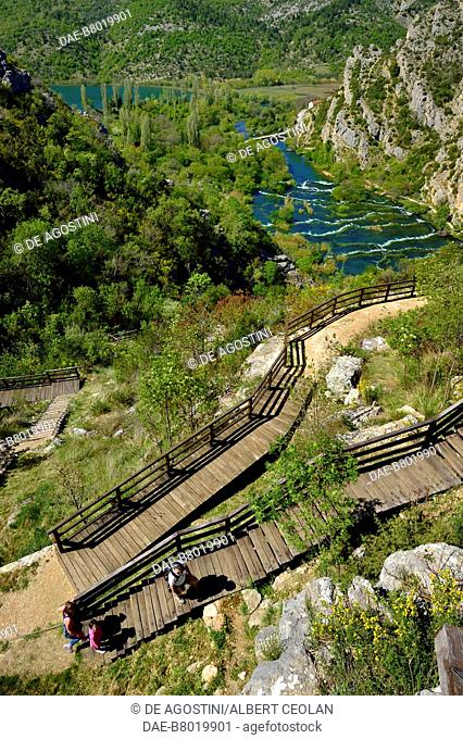 Walkway leading to the viewpoint over Roski Slap, Krka Waterfalls, Krka National Park, Croatia