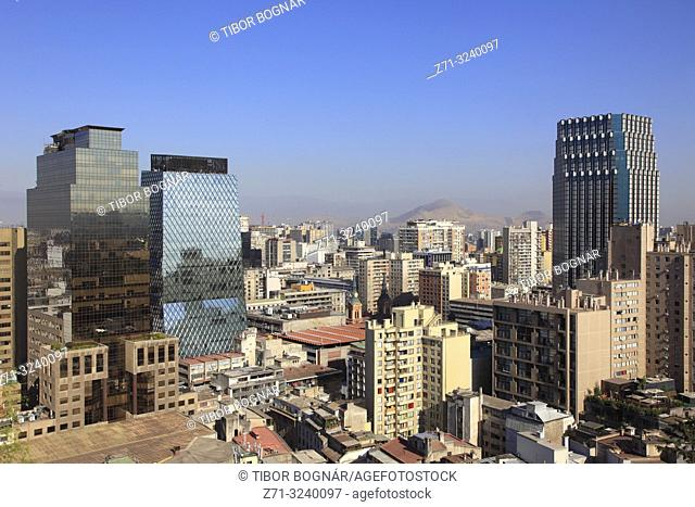 Chile, Santiago, downtown, skyline, skyscrapers, general view,
