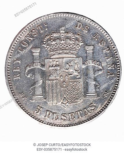 Reverse of coin of Alfonso XIII, five ,pesetas, un duro, 1888,Spain,