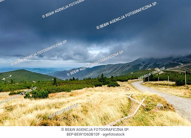 Polish-Czech Friendship Trail in Karkonosze (Giants Mountains) mountain range. View in direction of the Sniezka peak. Poland, Lower Silesian province