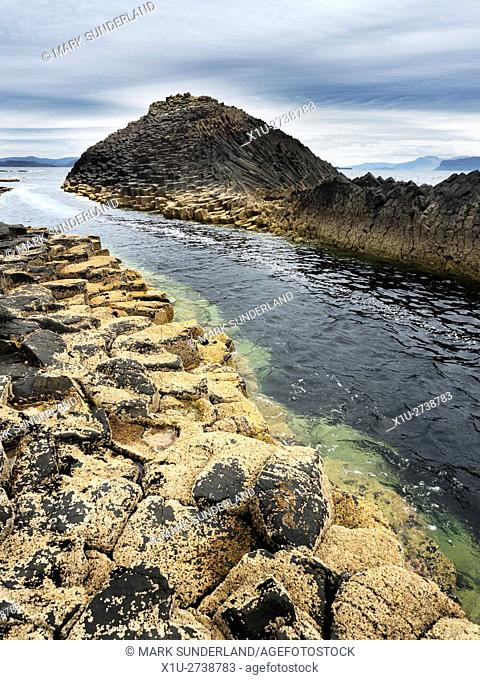 Basalt Columns by the Shore on the Isle of Staffa Argyll and Bute Scotland