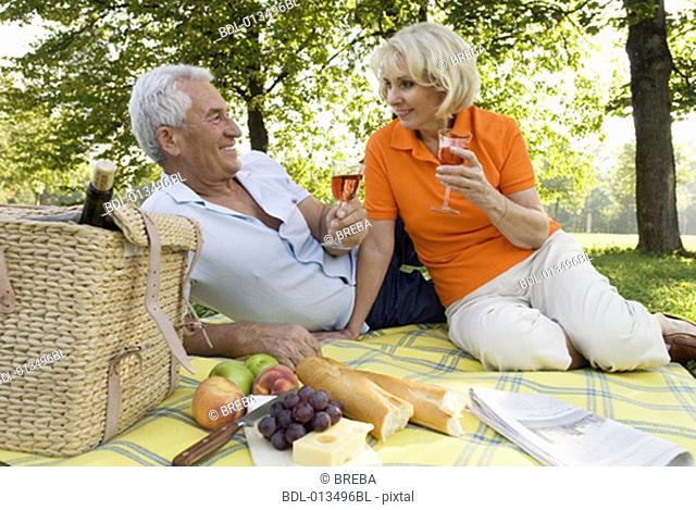 harmonious mature couple having picnic together