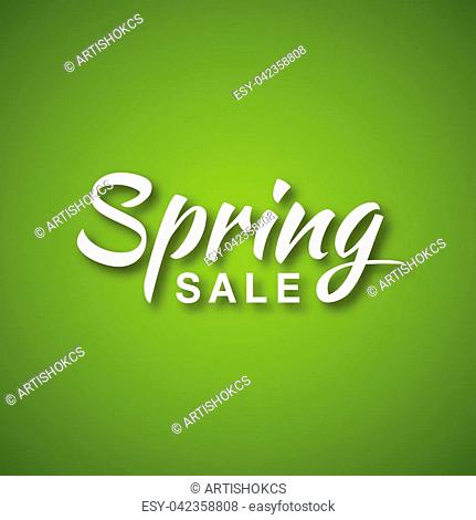 Vector illustration of white Spring Sale typographic calligraphic lettering text on bright green background. Hand drawn calligraphy