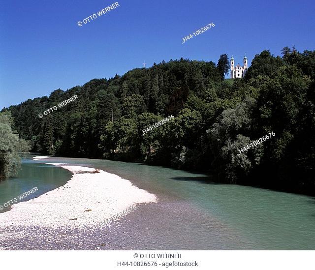 scenery, landscape, river scenery, river Isar, Leonhardikapelle, Kalvarienberg, bath Tolz, Isarwinkel, foothills, Alps