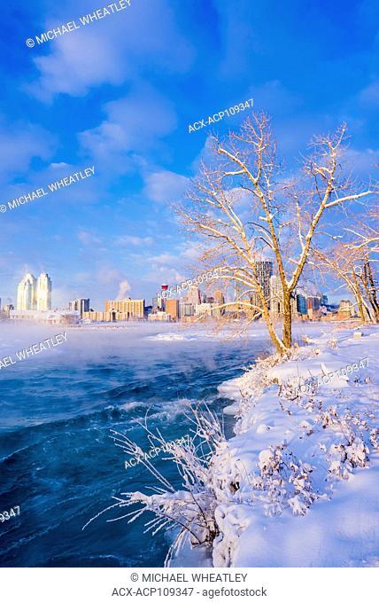 Calgary skyline from St. Patricks island, Bow River, Calgary, Alberta, Canada
