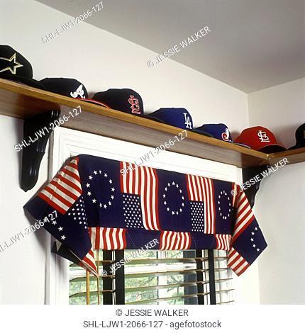 CHILDREN'S BEDROOM: Detail of window treatments, hats on shelf over window