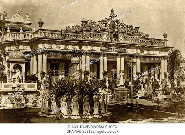 Vintage photo of rai buddree dass bahadoor house, calcutta, west bengal, india, asia