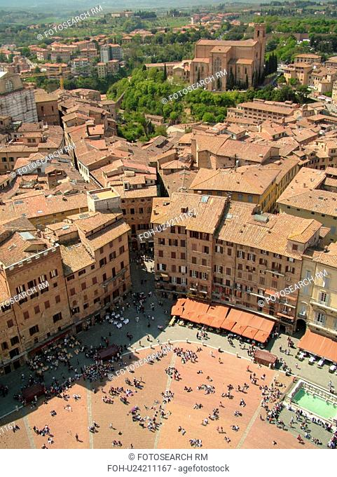 Tuscany, Italy, Siena, Toscana, Europe, Aerial view of the Piazza del Campo and the city of Siena from Torre del Mangia