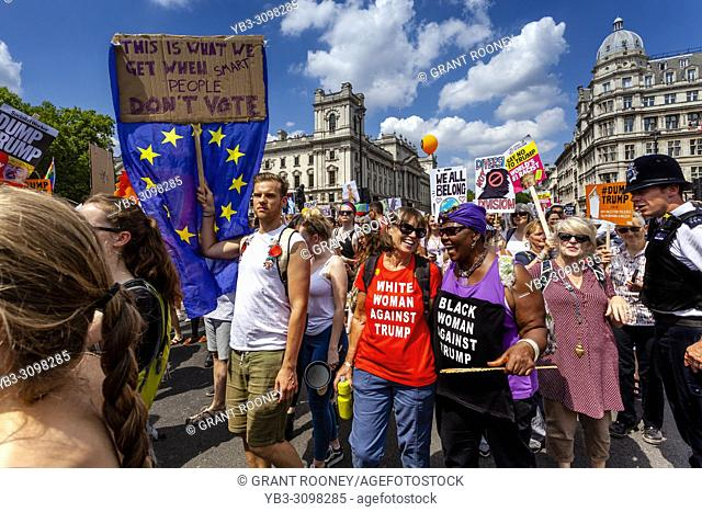 Anti Trump Protestors March Down Whitehall In Protest At The Visit To The UK of US President Donald Trump, London, England