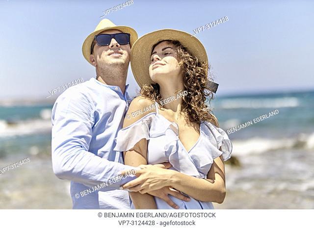 couple at beach, holidays, summer, love, flirt