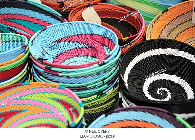 African bowls made from telephone wire. nr Empangeni, Kwa-Zulu Natal Province, South Africa